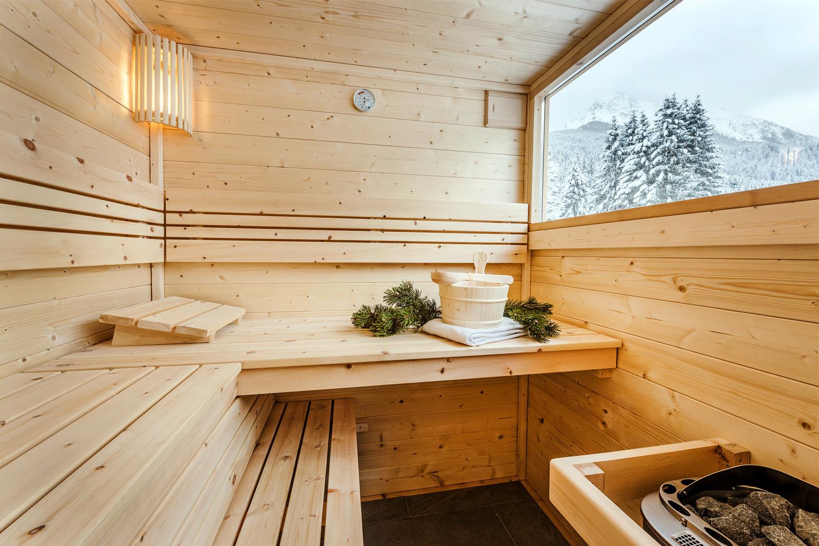Sauna im Kleinarl mit Ausblick auf die Bergwelt